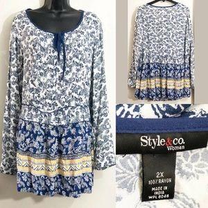 Style & Co Boho Peasant Bell Sleeve Tunic Dress.